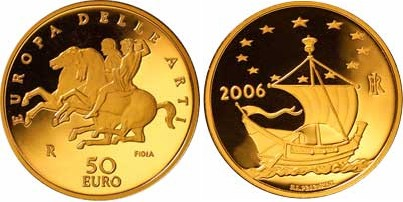 50 Euro Goldmünze Italien Europäische Kunst 2006