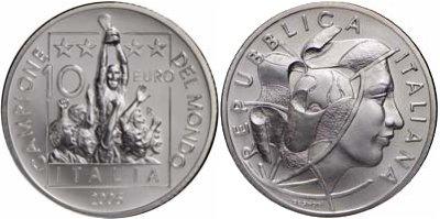 10 Euro Gedenkmünzen zum Titelgewinn Italiens bei der Fußball-WM 2006
