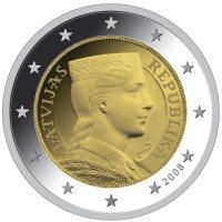 2 Euro Münze Trachtenmädchen Lettland