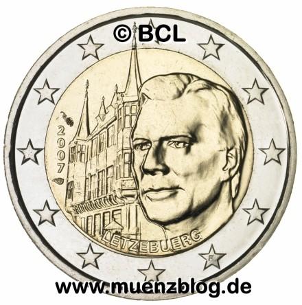 2 Euro Gedenkmünze Großherzogliches Palais Luxemburg 2007
