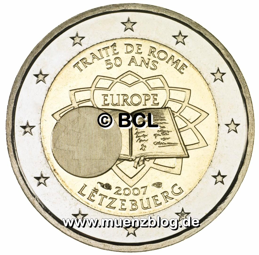 2 Euro Gedenkmünze Römische Verträge Aus Luxemburg