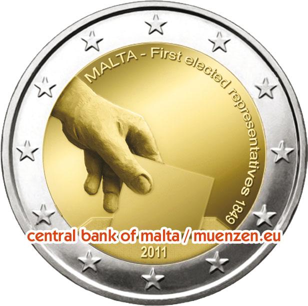 2 Euro Münzen Serie Verfassungsgeschichte Malta