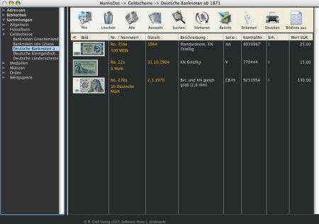 Sammlungsverwaltung Numisdat Banknoten
