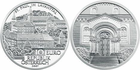 10 Euro Gedenkmünze Stift St. Paul in Österreich