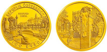 100 Euro Goldmünze Wienflussportal aus Österreich