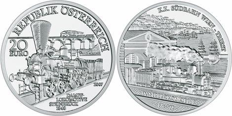 20 Euro Gedenkmünze Südbahn Wien-Triest aus Österreich