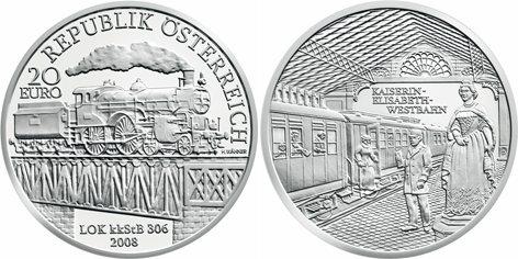 20 Euro Münze Elisabeth Westbahn Österreich