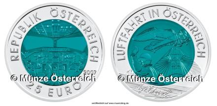 50 Euro Niobmünze Luftfahrt Österreich 2007