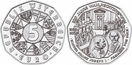 5 Euro Gedenkmünze Wahlrechtsreform Österreich 2007