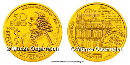 50 Euro Goldmünze Gerard van Swieten 2007