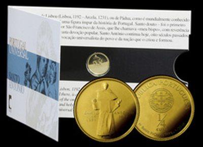 1/4 Euro Goldmünze Santo António aus Portugal