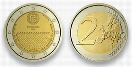 2 Euro Gedenkmünze Menschenrechte Portugal