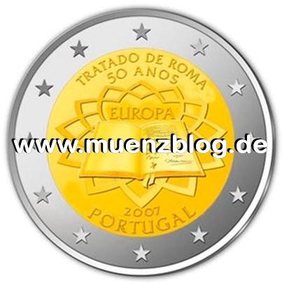 2 Euro Münze Römische Verträge Portugal 2007