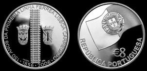8 Euro Gedenkmünze Eisenbahn Portugal 2006
