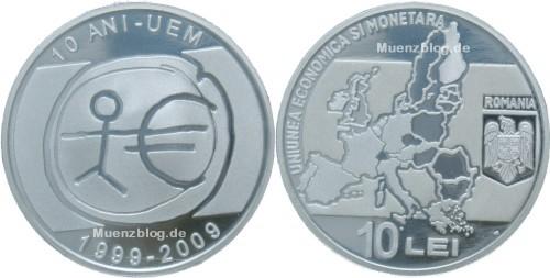 10 Lei Silbermünze 10 Jahre Euro Rumänien