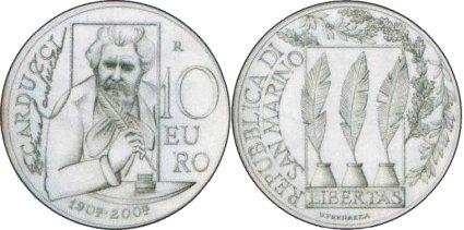 10 Euro Silbermünze Carducci