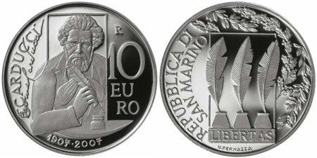 10 Euro Münze Carducci San Marino