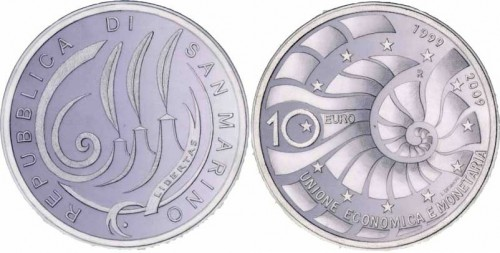 10 Euro Münze Währungsunion San Marino 2009
