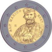 Entwurf der 2 Euro Gedenkmünze Garibladi aus San Marino