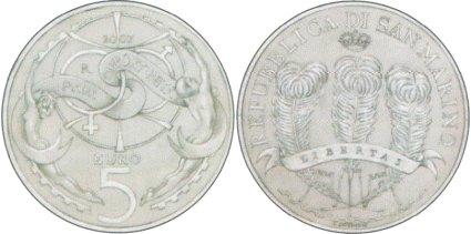5 Euro Gedenkmünze Chancengleichheit San Marino