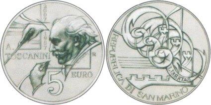 5 Euro Münze Arturo Toscanini