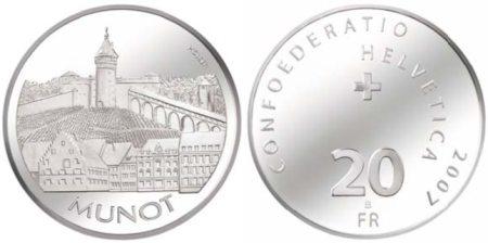 20 Franken Münze Munot Schweiz