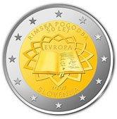 2 Euro Münze Römische Verträge aus Slowenien