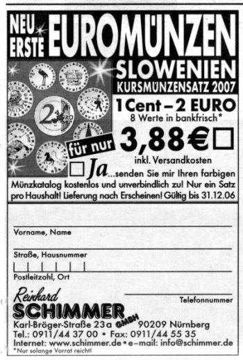 Coupon für die Euromünzen aus Slowenien