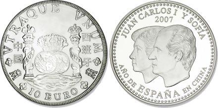 10 Euro Münze zum Spanischen Jahr in Chian 2007