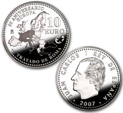 10 Euro Münze Römische Verträge aus Spanien