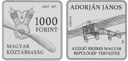1000 Forint Gedenkmünze Libelle Ungarn 2007