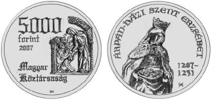 5000 Forint Münze Heilige Elisabeth 2007