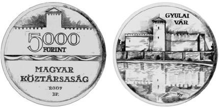 5000 Forint Münze Burg Gyula Ungarn