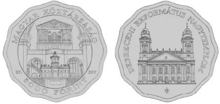 5000 Forint Gedenkmünze Kirche Debrecen Ungarn