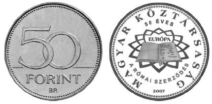 50 Forint Münze 50 Jahre Römische Verträge 2007