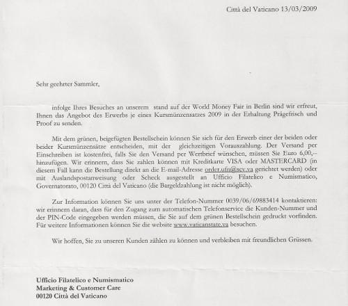 Schreiben des Vatikans an Besucher der Worldmoneyfair