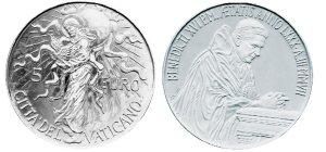 5 Euro Münze Weltfriedenstag aus dem Vatikan