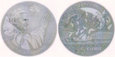 5 Euro Münze Weltjugendtag Vatikan