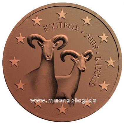 1-, 2- und 5 Cent Münzen Zypern