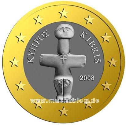 1- und 2 Euro Münze Zypern