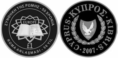 Zypern Gedenkmünze 2007 Römische Verträge