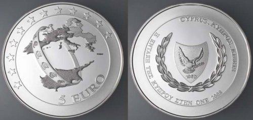 """5 Euro Münze """"Euro-Einführung"""" Zypern 2008"""